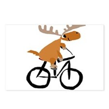 Moose Riding Bicycle Postcards (Package of 8)