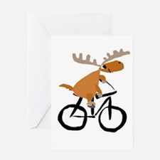 Moose Riding Bicycle Greeting Cards