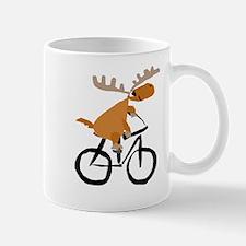 Moose Riding Bicycle Mugs