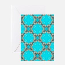moroccan pattern turquoise Quatrefo Greeting Cards