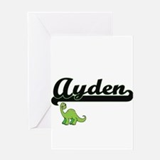 Ayden Classic Name Design with Dino Greeting Cards