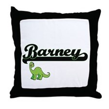 Barney Classic Name Design with Dinos Throw Pillow