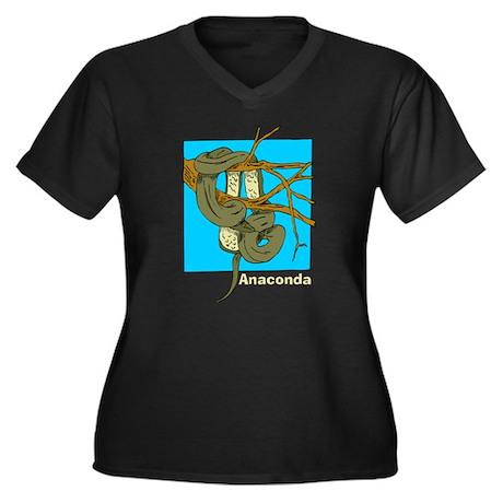 Anaconda Women's Plus Size V-Neck Dark T-Shirt