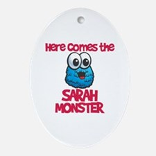 Sarah Monster Oval Ornament