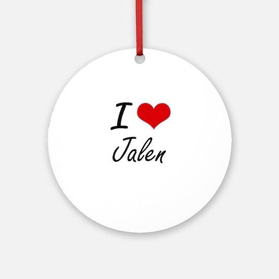 I Love Jalen Round Ornament