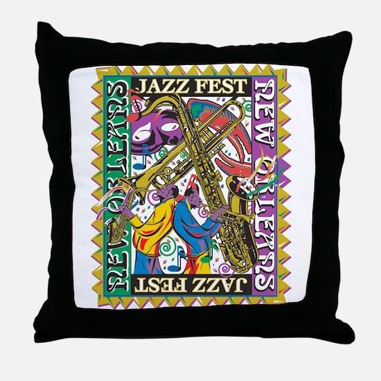 Jazz Fest New Orleans - Bourbon Stree Throw Pillow