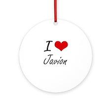 I Love Javion Round Ornament