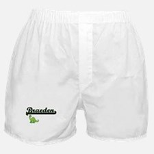 Braeden Classic Name Design with Dino Boxer Shorts