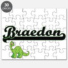 Braedon Classic Name Design with Dinosaur Puzzle