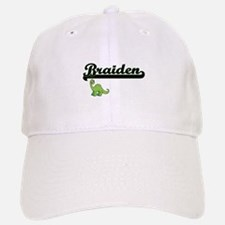 Braiden Classic Name Design with Dinosaur Baseball Baseball Cap