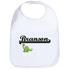 Branson Classic Name Design with Dinosaur Bib