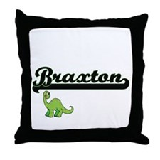 Braxton Classic Name Design with Dino Throw Pillow