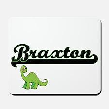 Braxton Classic Name Design with Dinosau Mousepad