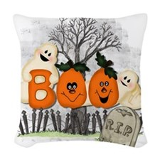 BOO Woven Throw Pillow