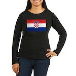 Croatia Flag Women's Long Sleeve Dark T-Shirt