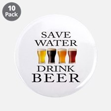 """Save Water Drink Beer 3.5"""" Button (10 pack)"""