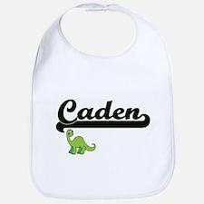 Caden Classic Name Design with Dinosaur Bib