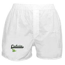 Calvin Classic Name Design with Dinos Boxer Shorts