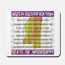 State of Mississippi Voter ID Certificat Mousepad