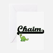 Chaim Classic Name Design with Dino Greeting Cards