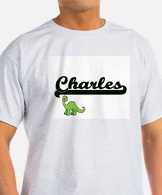 Charles Classic Name Design with Dinosaur T-Shirt