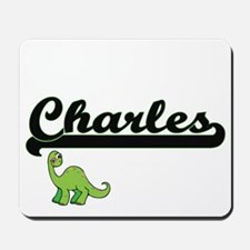 Charles Classic Name Design with Dinosau Mousepad
