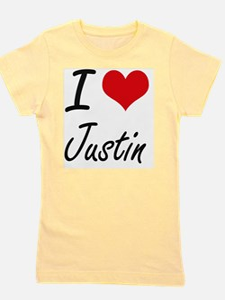 I Love Justin Girl's Tee