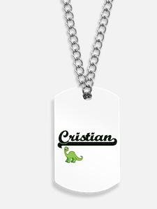 Cristian Classic Name Design with Dinosau Dog Tags