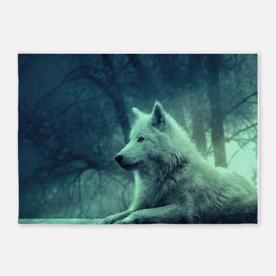 Wolves 5'x7'Area Rug