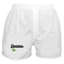 Damien Classic Name Design with Dinos Boxer Shorts