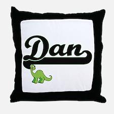 Dan Classic Name Design with Dinosaur Throw Pillow