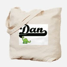 Dan Classic Name Design with Dinosaur Tote Bag
