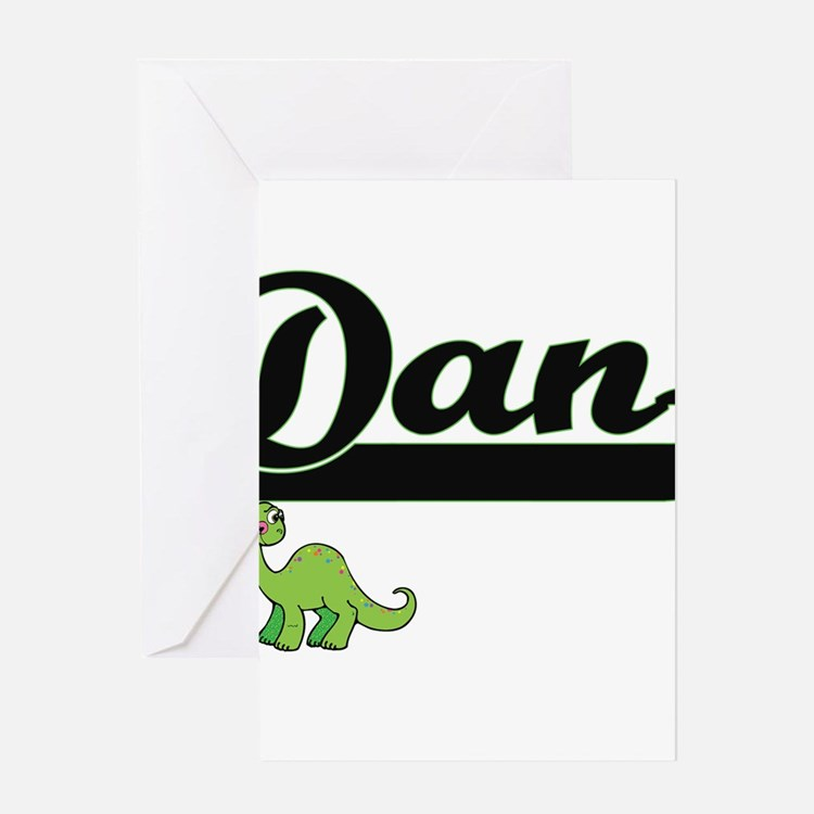 Dan Classic Name Design with Dinosa Greeting Cards