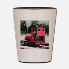 Red steam train engine, Wales 2 Shot Glass