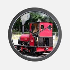 Red steam train engine, Wales 2 Wall Clock