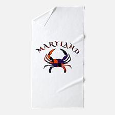 Maryland Flag Orange And Purple Beach Towel
