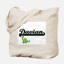 Davian Classic Name Design with Dinosaur Tote Bag