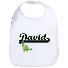 David Classic Name Design with Dinosaur Bib