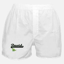David Classic Name Design with Dinosa Boxer Shorts