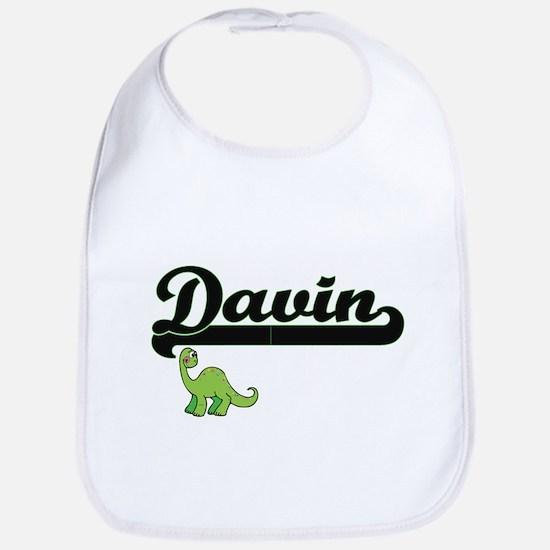 Davin Classic Name Design with Dinosaur Bib