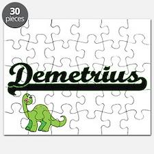Demetrius Classic Name Design with Dinosaur Puzzle