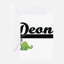 Deon Classic Name Design with Dinos Greeting Cards
