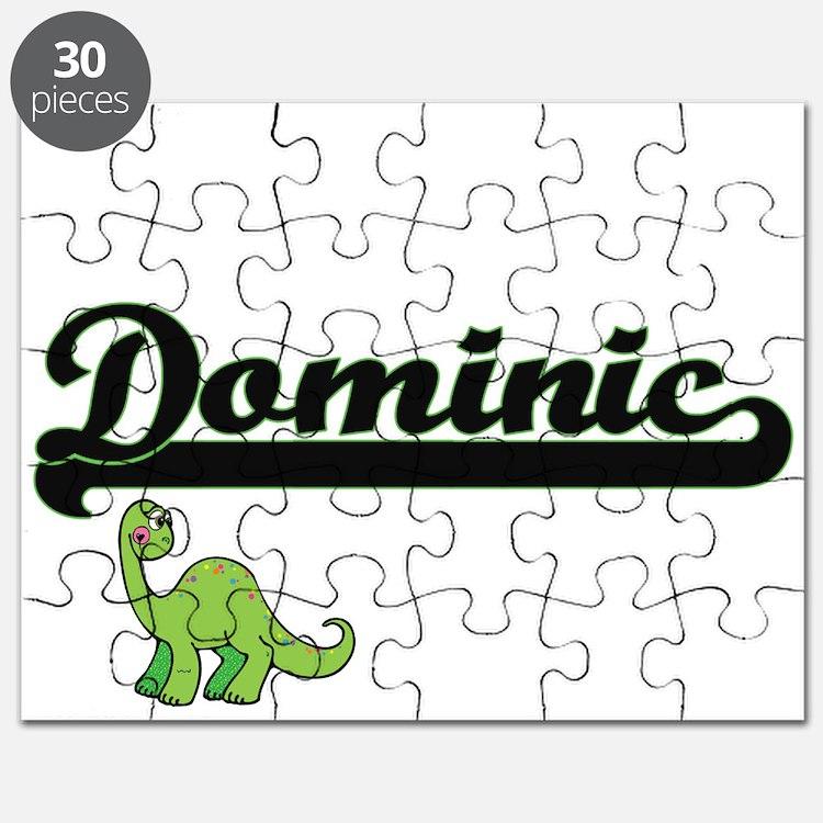 Dominic Classic Name Design with Dinosaur Puzzle