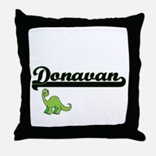 Donavan Classic Name Design with Dino Throw Pillow