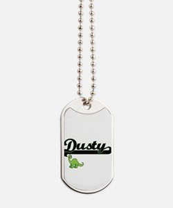 Dusty Classic Name Design with Dinosaur Dog Tags