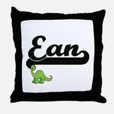 Ean Classic Name Design with Dinosaur Throw Pillow