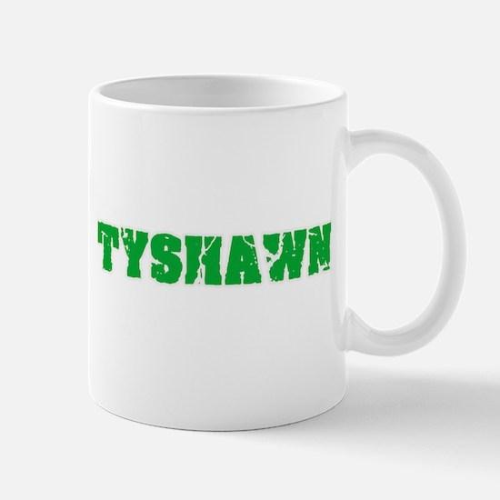 Tyshawn Name Weathered Green Design Mugs