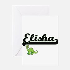 Elisha Classic Name Design with Din Greeting Cards