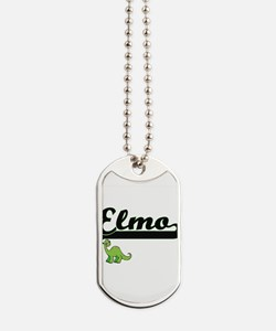 Elmo Classic Name Design with Dinosaur Dog Tags