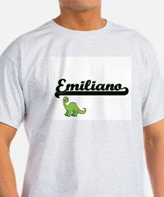 Emiliano Classic Name Design with Dinosaur T-Shirt